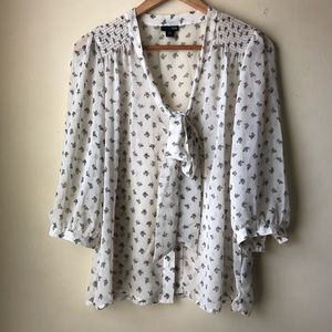 East 5th Tie Neck Blouse White/navy Size Petite XL